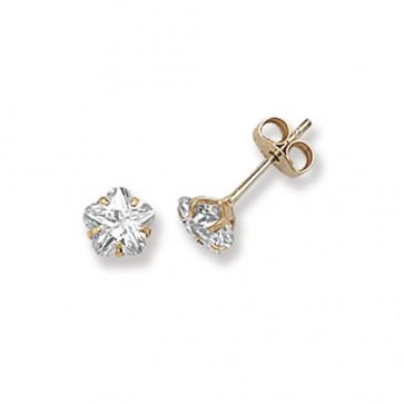 9ct Yellow Gold 5MM Cubic Zirconia Stud Earrings