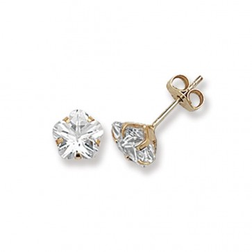 9ct Yellow Gold 6MM Cubic Zirconia Stud Earrings