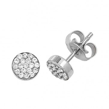 9ct White Gold Cubic Zirconia Round Stud Earrings