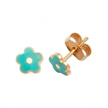 9ct Yellow Gold Turquoise Flower Stud Earrings