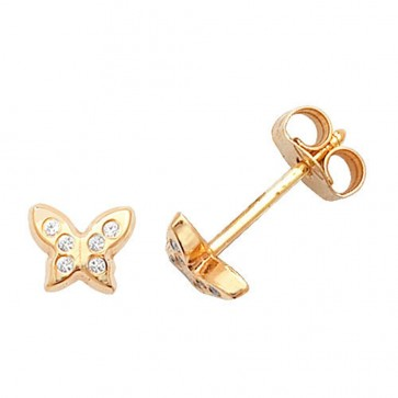 9ct Yellow Gold Cubic Zirconia Butterfly Stud Earrings
