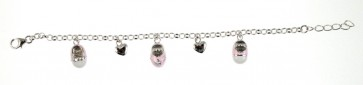 Childrens Sterling Silver Pink Shoe & Heart Bracelet