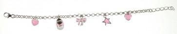 Childrens Sterling Silver Pale Pink Bracelet