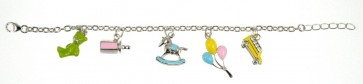Childrens Sterling Silver Multi Coloured Bracelet