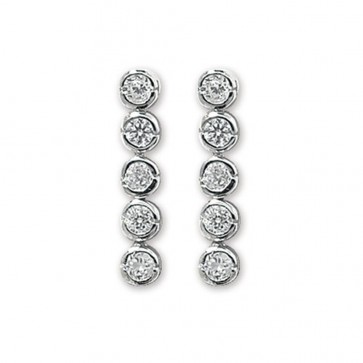 Sterling Silver Cubic Zirconia Round Drop Earrings