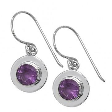 Sterling Silver Amethyst Celtic Round Drop Earrings