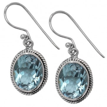 Sterling Silver Blue Topaz Celtic Oval Drop Earrings