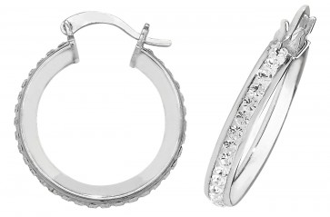 Sterling Silver 20MM Crystal Hoop Earrings