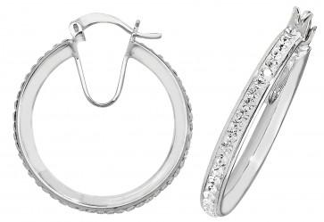 Sterling Silver 25MM Crystal Hoop Earrings