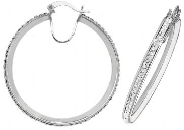 Sterling Silver 35MM Crystal Hoop Earrings