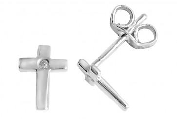 Sterling Silver Diamond Cross Stud Earrings