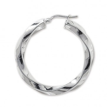 Sterling Silver Chunky Twisted 4MM Thick 35MM Hoop Earrings
