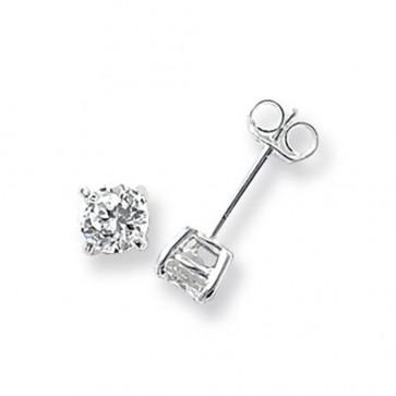 Sterling Silver 5MM Cubic Zirconia Round Stud Earrings