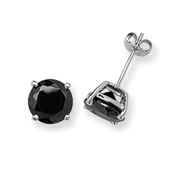 Sterling Silver 8MM Black Cubic Zirconia Round Stud Earrings