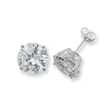 Sterling Silver 12MM Cubic Zirconia Round Stud Earrings