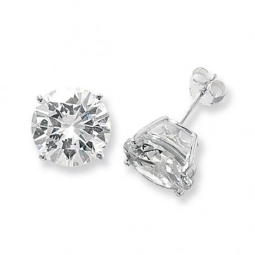 Sterling Silver 13MM Cubic Zirconia Round Stud Earrings