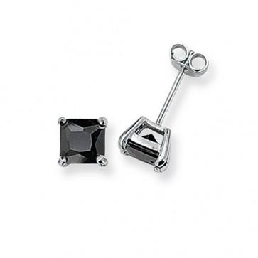 Sterling Silver 6MM Black Cubic Zirconia Square Stud Earrings