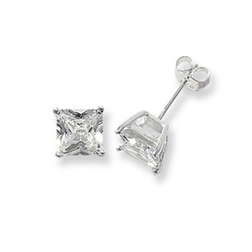 Sterling Silver 7MM Cubic Zirconia Square Stud Earrings