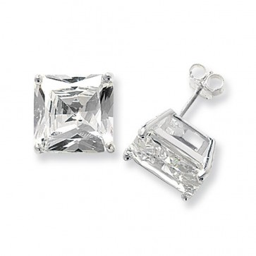 Sterling Silver 13MM Cubic Zirconia Square Stud Earrings