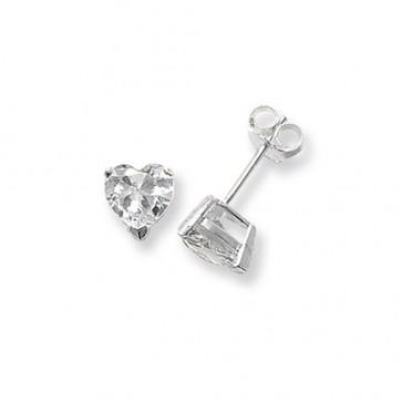 Sterling Silver 7MM Cubic Zirconia Heart Stud Earrings