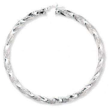 Sterling Silver Diamond Cut Twisted 72MM Hoop Earrings