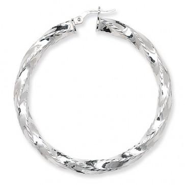 Sterling Silver Diamond Cut Twisted 50MM Hoop Earrings