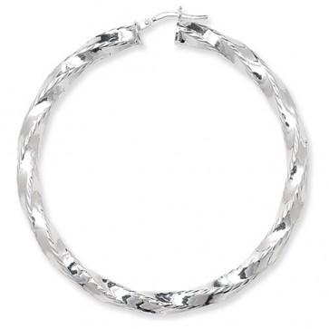 Sterling Silver Diamond Cut Twisted 62MM Hoop Earrings