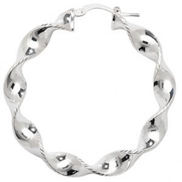 Sterling Silver 43MM Twisted Hoop Earrings