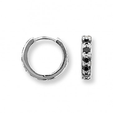 Sterling Silver 15MM Black Cubic Zirconia Hoop Earrings