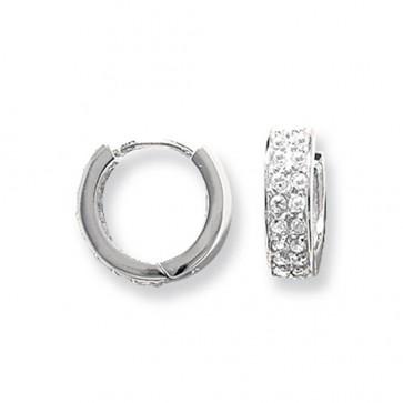 Sterling Silver 15MM Double Banded Cubic Zirconia Hoop Earrings