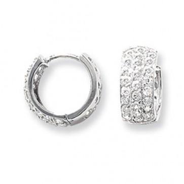 Sterling Silver 15MM Triple Cubic Zirconia Hoop Earrings