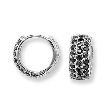 Sterling Silver 15MM Triple Black Cubic Zirconia Hoop Earrings