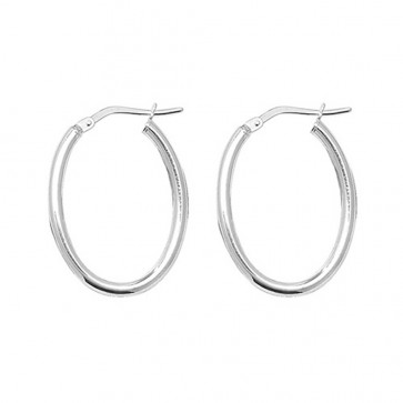Sterling Silver 2MM Thick Oval Hoop Earrings