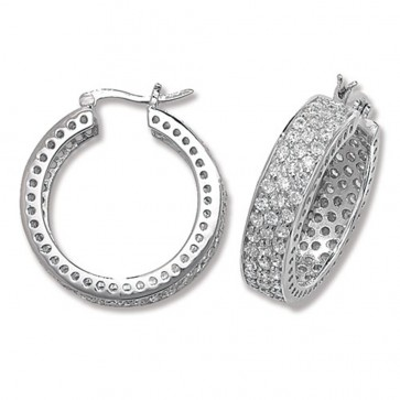 Sterling Silver 28MM Cubic Zirconia Hoop Earrings