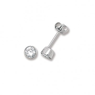 Sterling Silver 4MM Cubic Zirconia Round Rub Over Stud Earrings