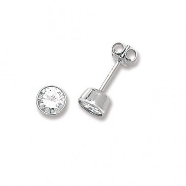 Sterling Silver 5MM Cubic Zirconia Round Rub Over Stud Earrings