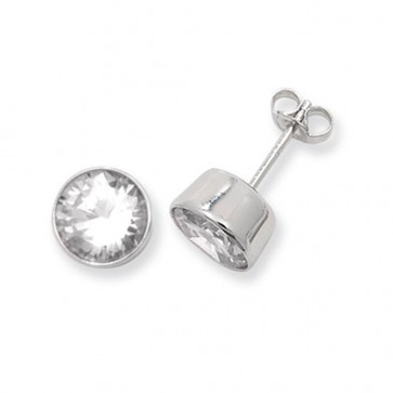 Sterling Silver 8MM Cubic Zirconia Round Rub Over Stud Earrings
