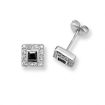 Sterling Silver 9MM Black & White Cubic Zirconia Square Stud Earrings