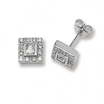 Sterling Silver 9MM Cubic Zirconia Square Stud Earrings