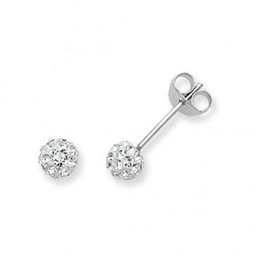 Sterling Silver 5MM Clear Crystal Stud Earrings