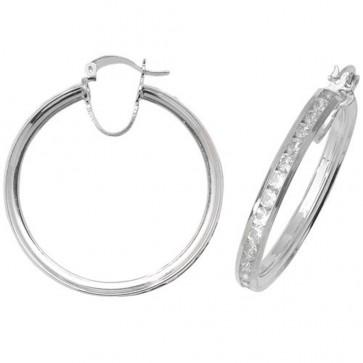 Sterling Silver 38MM Cubic Zirconia Hoop Earrings