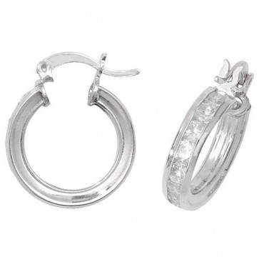 Sterling Silver 17MM Cubic Zirconia Hoop Earrings