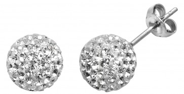 Sterling Silver 8MM Clear Crystal Stud Earrings