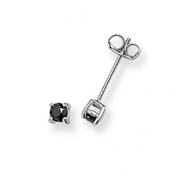 Sterling Silver 3MM Black Cubic Zirconia Round Stud Earrings