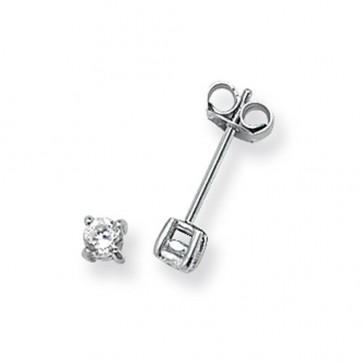 Sterling Silver 3MM Cubic Zirconia Round Stud Earrings