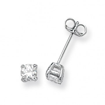 Sterling Silver 4MM Cubic Zirconia Round Stud Earrings