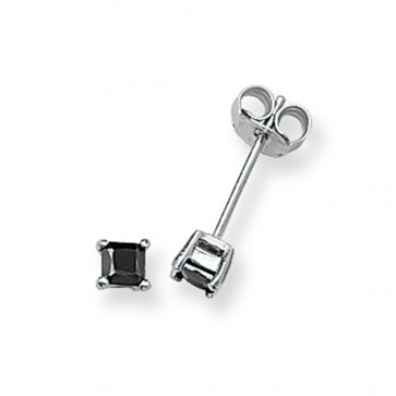 Sterling Silver 3MM Black Cubic Zirconia Square Stud Earrings