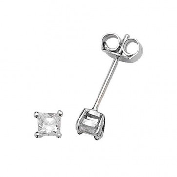 Sterling Silver 3MM Cubic Zirconia Square Stud Earrings