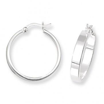 Sterling Silver 20MM Flat Hoop Earrings
