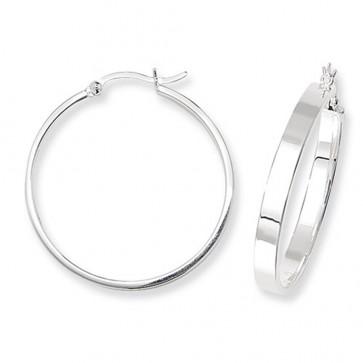 Sterling Silver 30MM Flat Hoop Earrings